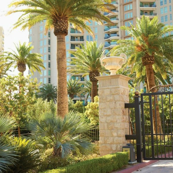 one-queensridge-place-las-vegas-condos-for-sale-outside-tower-view-palm-trees-gate